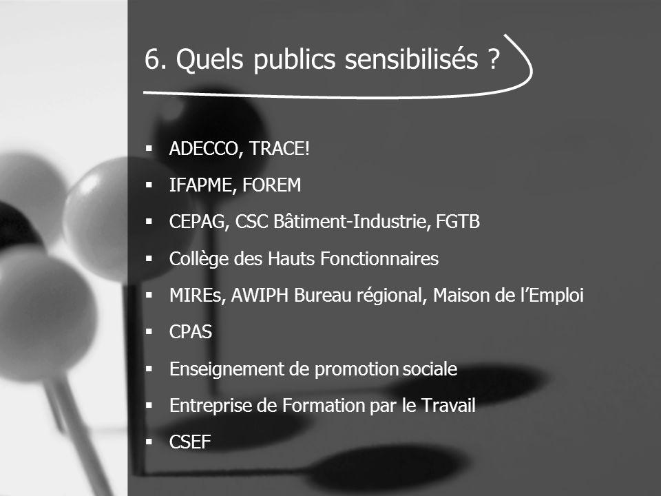 6. Quels publics sensibilisés ?  ADECCO, TRACE!  IFAPME, FOREM  CEPAG, CSC Bâtiment-Industrie, FGTB  Collège des Hauts Fonctionnaires  MIREs, AWI