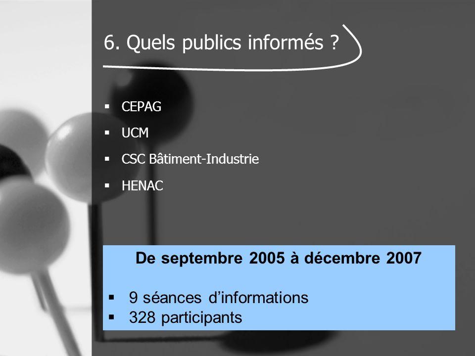 6. Quels publics informés ?  CEPAG  UCM  CSC Bâtiment-Industrie  HENAC De septembre 2005 à décembre 2007  9 séances d'informations  328 particip