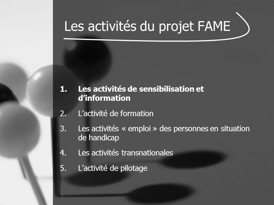 Les activités du projet FAME 1.Les activités de sensibilisation et d'information 2.L'activité de formation 3.Les activités « emploi » des personnes en situation de handicap 4.Les activités transnationales 5.L'activité de pilotage