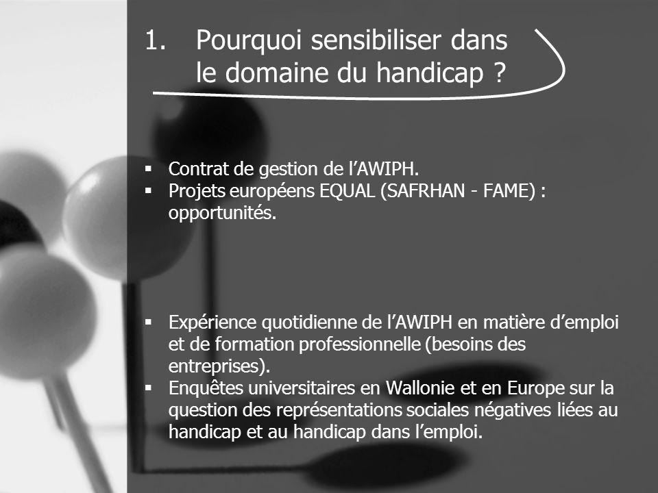 1.Pourquoi sensibiliser dans le domaine du handicap ?  Contrat de gestion de l'AWIPH.  Projets européens EQUAL (SAFRHAN - FAME) : opportunités.  Ex