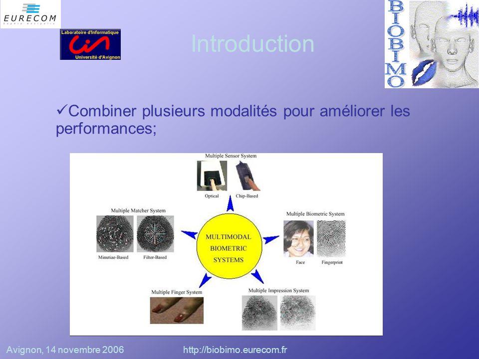 Avignon, 14 novembre 2006http://biobimo.eurecom.fr COIA (Goecke) –Détection du visage puis du contour des lèvres –Extraction des paramètres sur l'ouverture de la bouche et sur les dimensions des lèvres –Extraction des coefficients MFCC et leurs dérivées du flux audio –Détermination du poids à accorder à chacune des données par une COIA –Reconnaissance à l'aide de HMM
