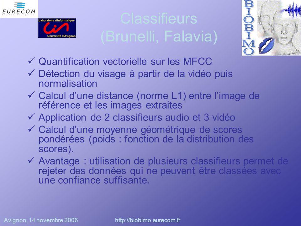 Avignon, 14 novembre 2006http://biobimo.eurecom.fr Classifieurs (Broun et Zhang) Extraction des données audio sous la forme de LPC (Linear Predictive Coefficients) Segmentation des données vidéo basée sur les couleurs, les paramètres géométriques des lèvres et de la bouche; Classifieurs polynomiaux sur données audio et vidéo Fusion au niveau des classes