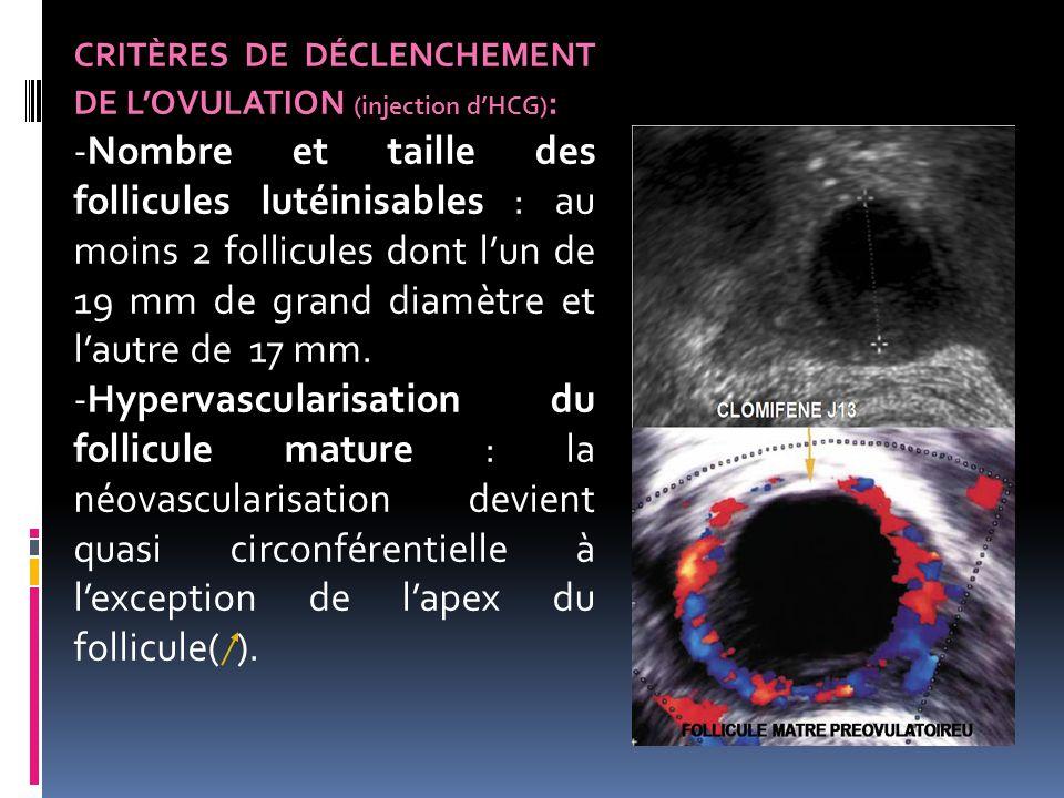 CRITÈRES DE DÉCLENCHEMENT DE L'OVULATION (injection d'HCG) : -Nombre et taille des follicules lutéinisables : au moins 2 follicules dont l'un de 19 mm
