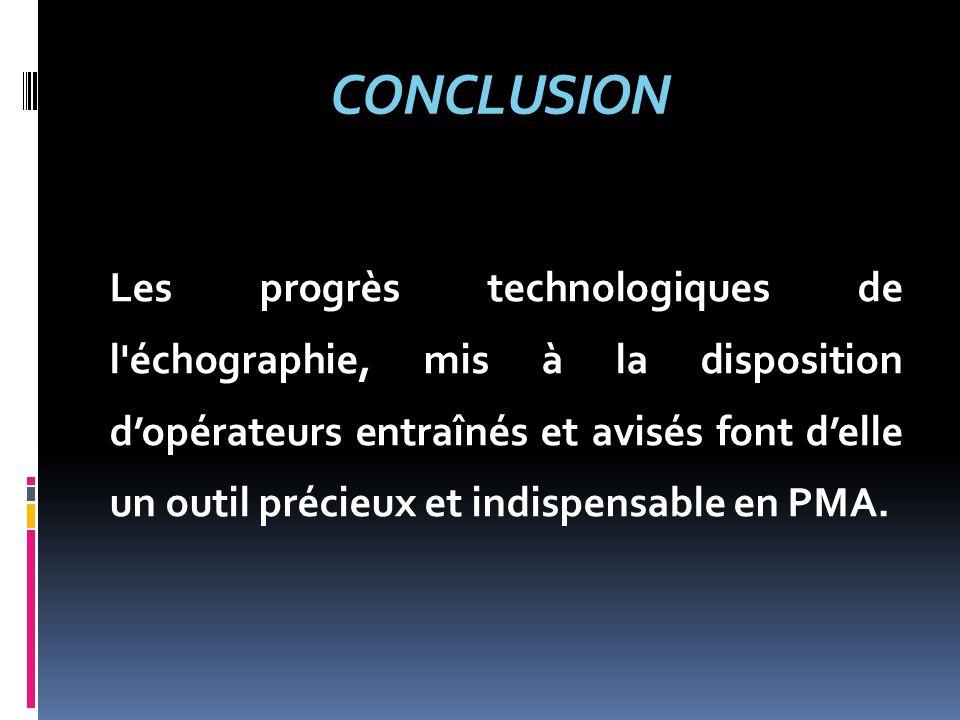 CONCLUSION Les progrès technologiques de l'échographie, mis à la disposition d'opérateurs entraînés et avisés font d'elle un outil précieux et indispe