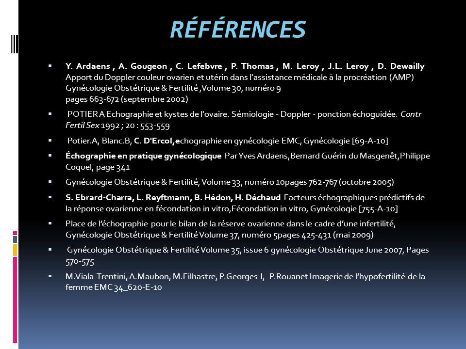 RÉFÉRENCES  Y. Ardaens, A. Gougeon, C. Lefebvre, P. Thomas, M. Leroy, J.L. Leroy, D. Dewailly Apport du Doppler couleur ovarien et utérin dans l'assi