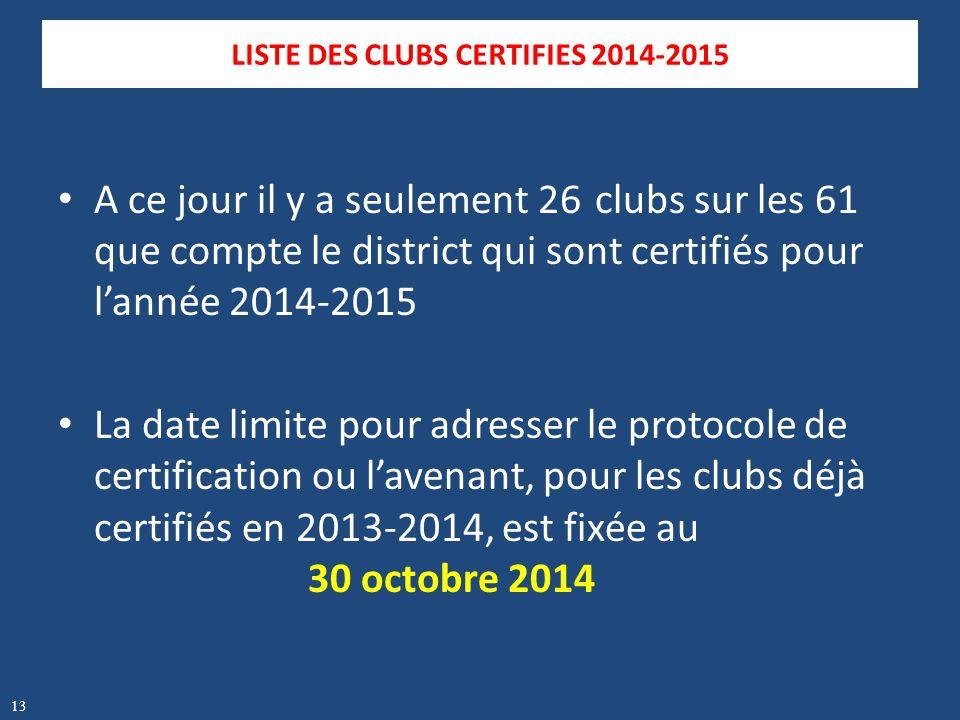 A ce jour il y a seulement 26 clubs sur les 61 que compte le district qui sont certifiés pour l'année 2014-2015 La date limite pour adresser le protoc