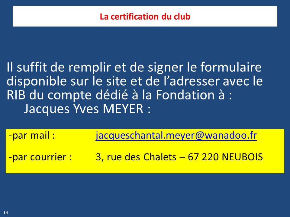 Il suffit de remplir et de signer le formulaire disponible sur le site et de l'adresser avec le RIB du compte dédié à la Fondation à : Jacques Yves ME