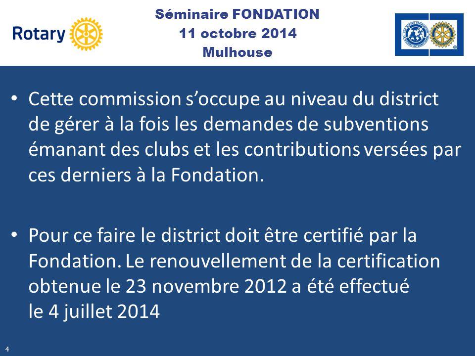 Cette commission s'occupe au niveau du district de gérer à la fois les demandes de subventions émanant des clubs et les contributions versées par ces
