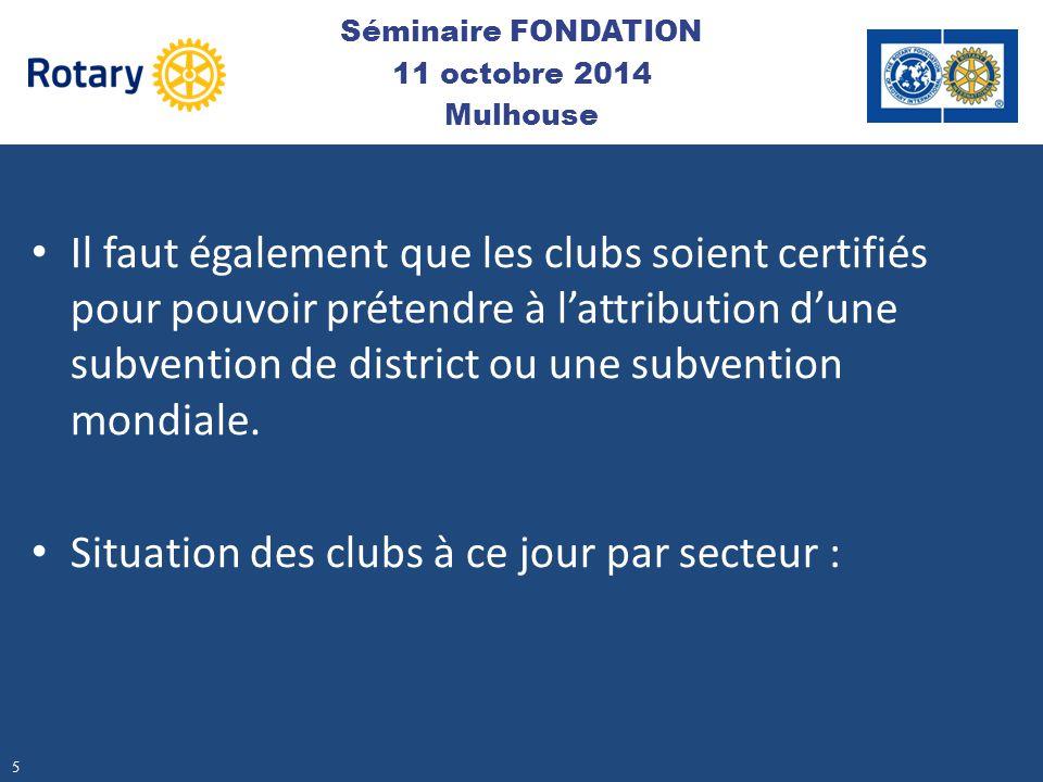 Il faut également que les clubs soient certifiés pour pouvoir prétendre à l'attribution d'une subvention de district ou une subvention mondiale. Situa