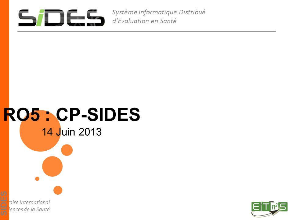 Système Informatique Distribué d'Evaluation en Santé Diplôme Inter-Universitaire International Enseigner et Tutorer par le numérique en Sciences de la Santé SIDES RO5 : CP-SIDES 14 Juin 2013