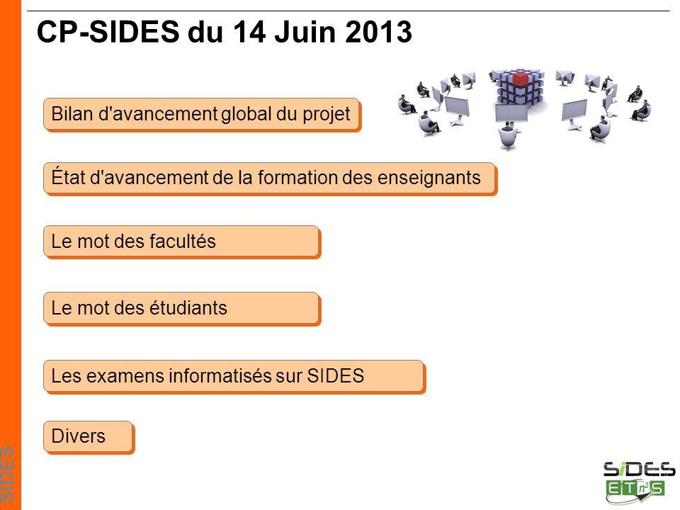 SIDES CP-SIDES du 14 Juin 2013 Le mot des facultés Le mot des étudiants Divers Bilan d avancement global du projet État d avancement de la formation des enseignants Les examens informatisés sur SIDES