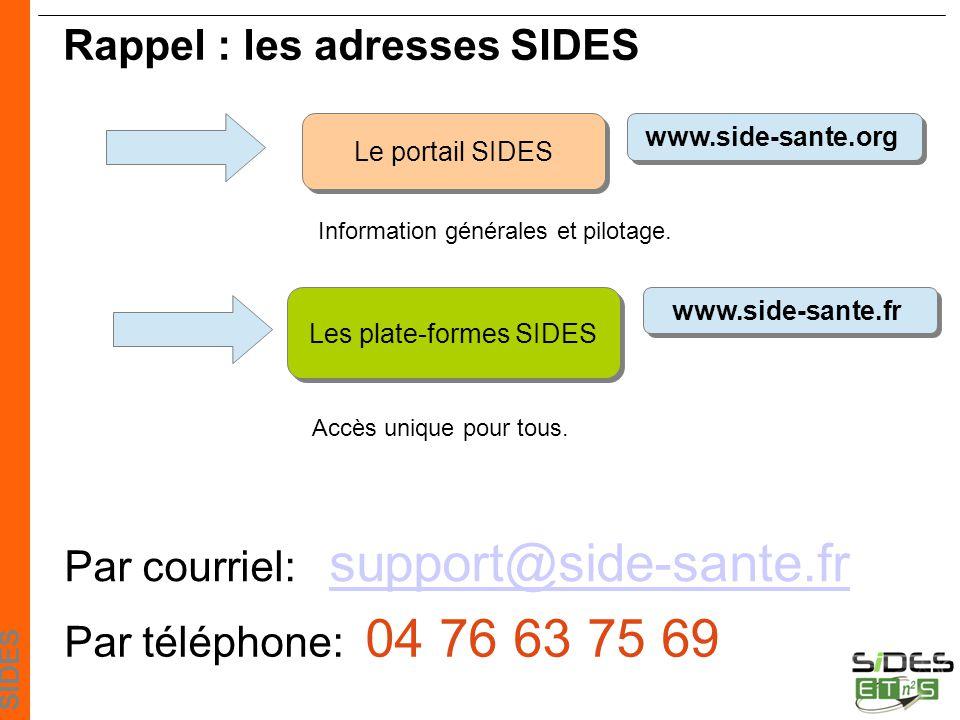 SIDES Les plate-formes SIDES www.side-sante.org Le portail SIDES www.side-sante.fr Rappel : les adresses SIDES Accès unique pour tous.