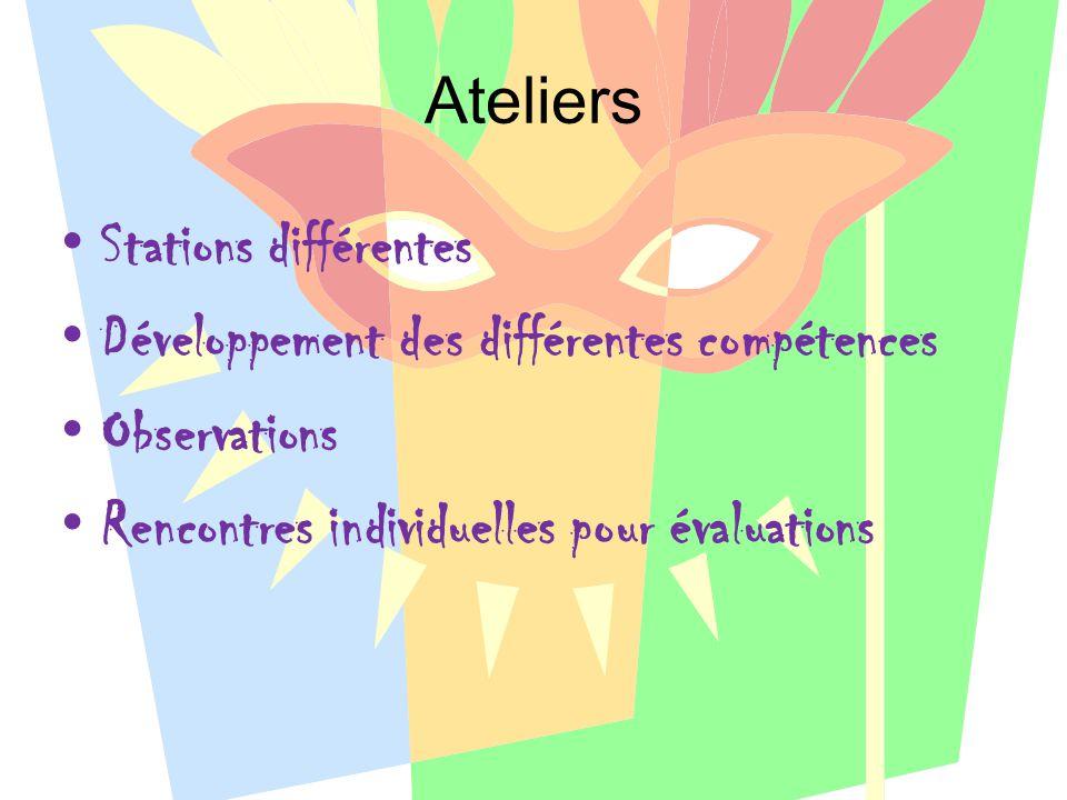 Ateliers Stations différentes Développement des différentes compétences Observations Rencontres individuelles pour évaluations