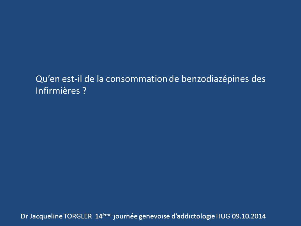 Dr Jacqueline TORGLER 14 ème journée genevoise d'addictologie HUG 09.10.2014 Qu'en est-il de la consommation de benzodiazépines des Infirmières