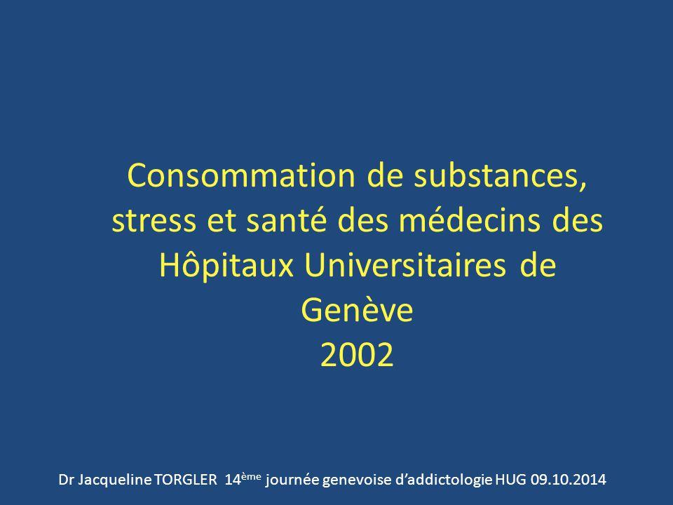 Consommation de substances, stress et santé des médecins des Hôpitaux Universitaires de Genève 2002 Dr Jacqueline TORGLER 14 ème journée genevoise d'addictologie HUG 09.10.2014