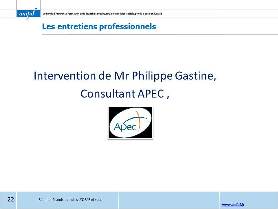 www.unifaf.fr Les entretiens professionnels Intervention de Mr Philippe Gastine, Consultant APEC, Réunion Grands comptes UNIFAF et vous 22