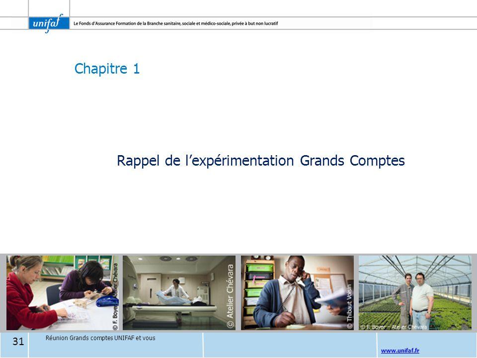 Chapitre 1 www.unifaf.fr Rappel de l'expérimentation Grands Comptes Réunion Grands comptes UNIFAF et vous 31