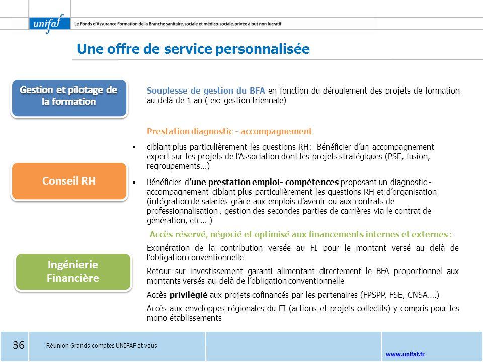 www.unifaf.fr Une offre de service personnalisée Souplesse de gestion du BFA en fonction du déroulement des projets de formation au delà de 1 an ( ex: