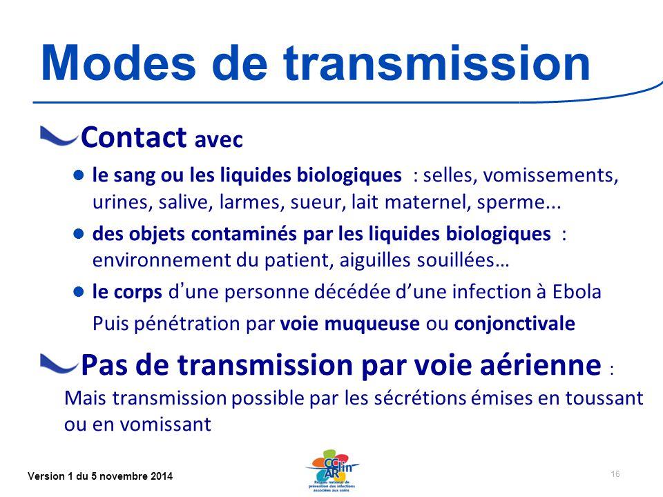 Version 1 du 5 novembre 2014 Modes de transmission Contact avec le sang ou les liquides biologiques : selles, vomissements, urines, salive, larmes, sueur, lait maternel, sperme...