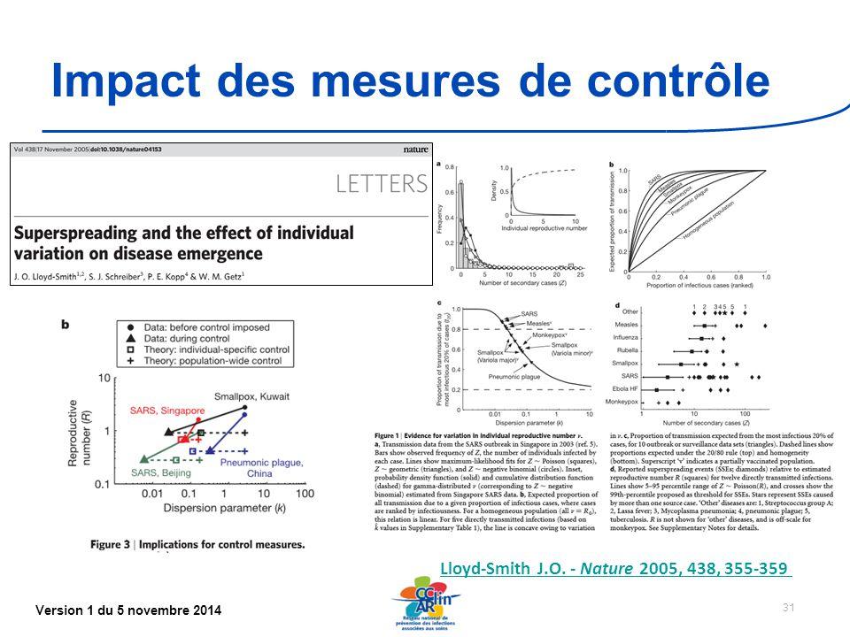 Version 1 du 5 novembre 2014 Impact des mesures de contrôle 31 Lloyd-Smith J.O.