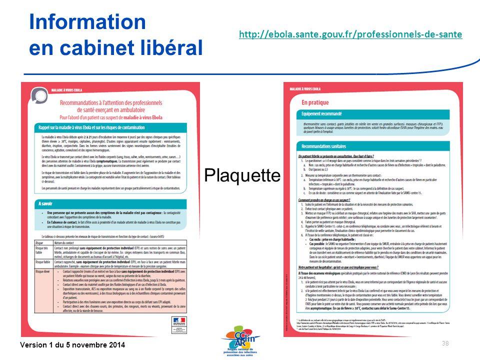 Version 1 du 5 novembre 2014 38 Information en cabinet libéral http://ebola.sante.gouv.fr/professionnels-de-sante Plaquette