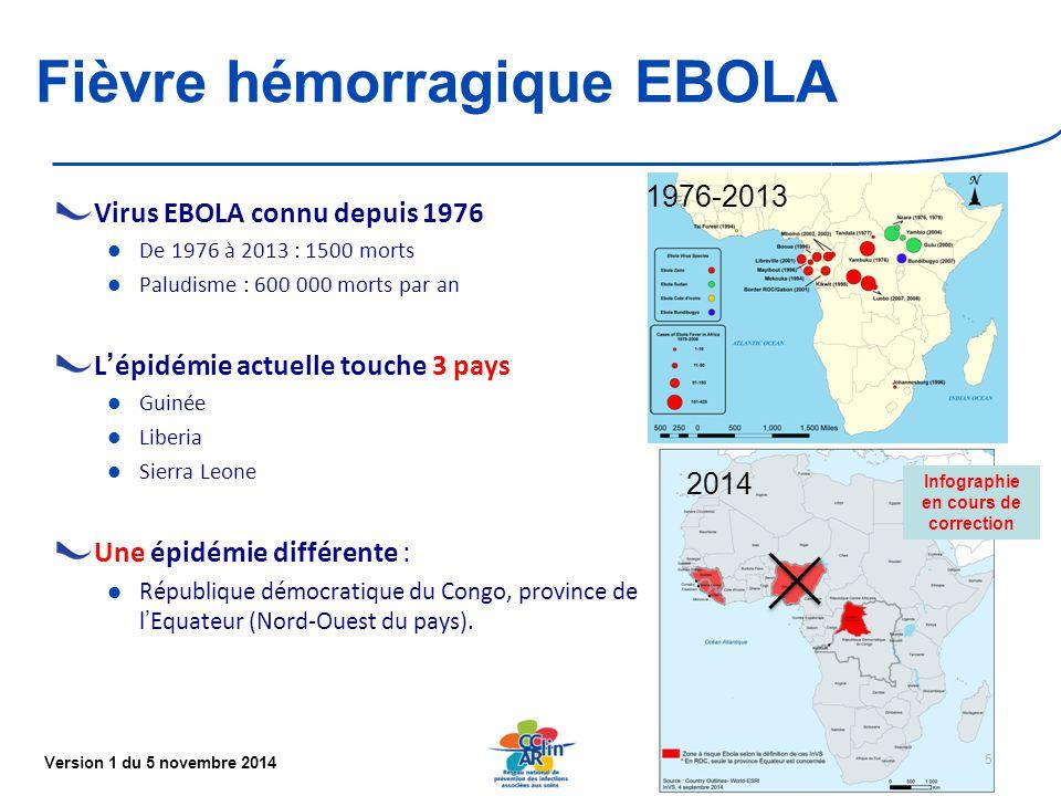 Version 1 du 5 novembre 2014 Fièvre hémorragique EBOLA Virus EBOLA connu depuis 1976 De 1976 à 2013 : 1500 morts Paludisme : 600 000 morts par an L'épidémie actuelle touche 3 pays Guinée Liberia Sierra Leone Une épidémie différente : République démocratique du Congo, province de l'Equateur (Nord-Ouest du pays).