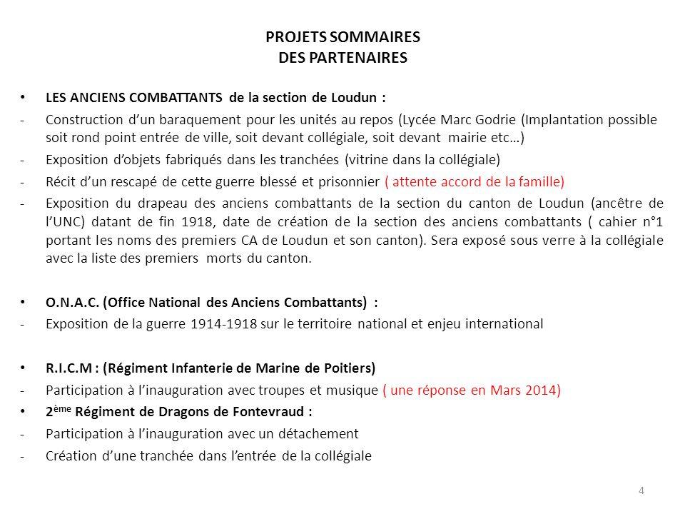 PROJETS SOMMAIRES DES PARTENAIRES LES ANCIENS COMBATTANTS de la section de Loudun : -Construction d'un baraquement pour les unités au repos (Lycée Mar