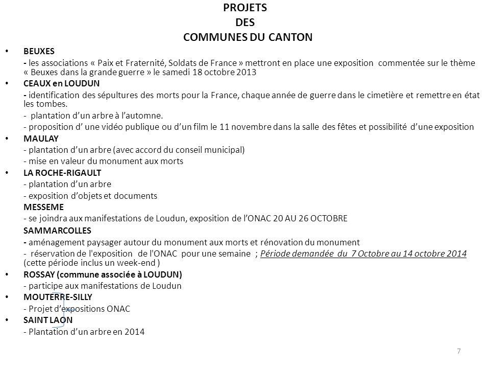 PROJETS DES COMMUNES DU CANTON BEUXES - les associations « Paix et Fraternité, Soldats de France » mettront en place une exposition commentée sur le t