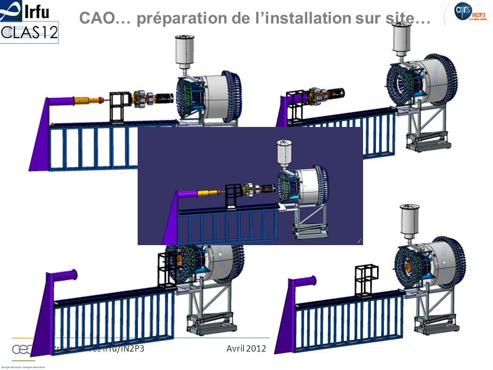 Prospectives Irfu/IN2P3Avril 2012F. Ardellier CAO… préparation de l'installation sur site…
