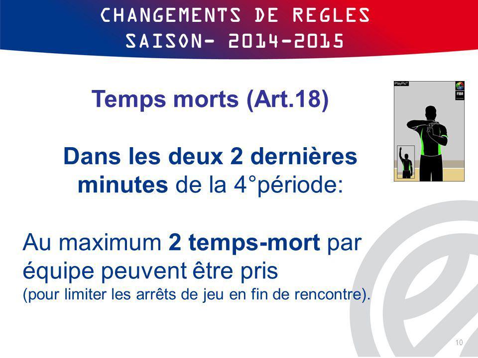 CHANGEMENTS DE REGLES SAISON- 2014-2015 Temps morts (Art.18) Dans les deux 2 dernières minutes de la 4°période: Au maximum 2 temps-mort par équipe peu