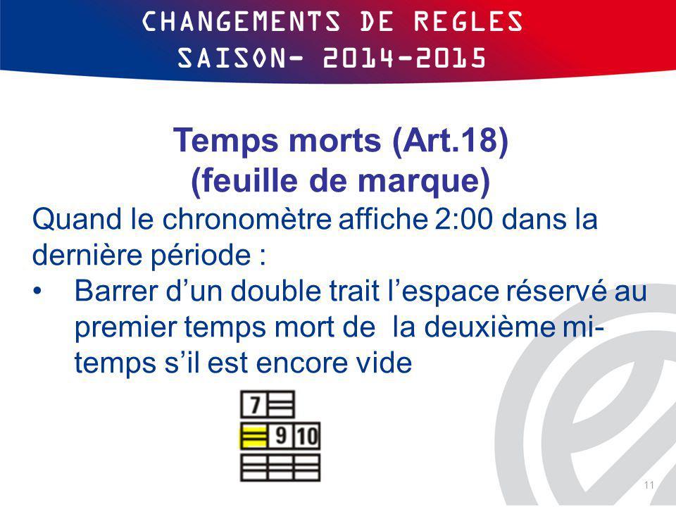 CHANGEMENTS DE REGLES SAISON- 2014-2015 Temps morts (Art.18) (feuille de marque) Quand le chronomètre affiche 2:00 dans la dernière période : Barrer d