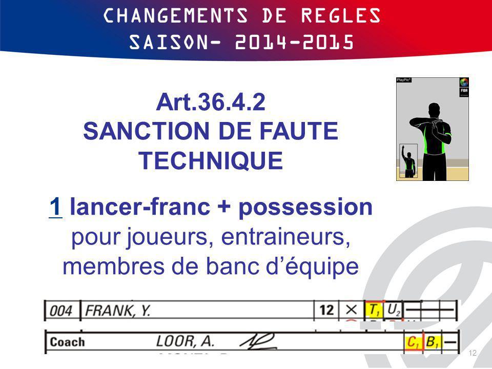 CHANGEMENTS DE REGLES SAISON- 2014-2015 Art.36.4.2 SANCTION DE FAUTE TECHNIQUE 1 lancer-franc + possession pour joueurs, entraineurs, membres de banc