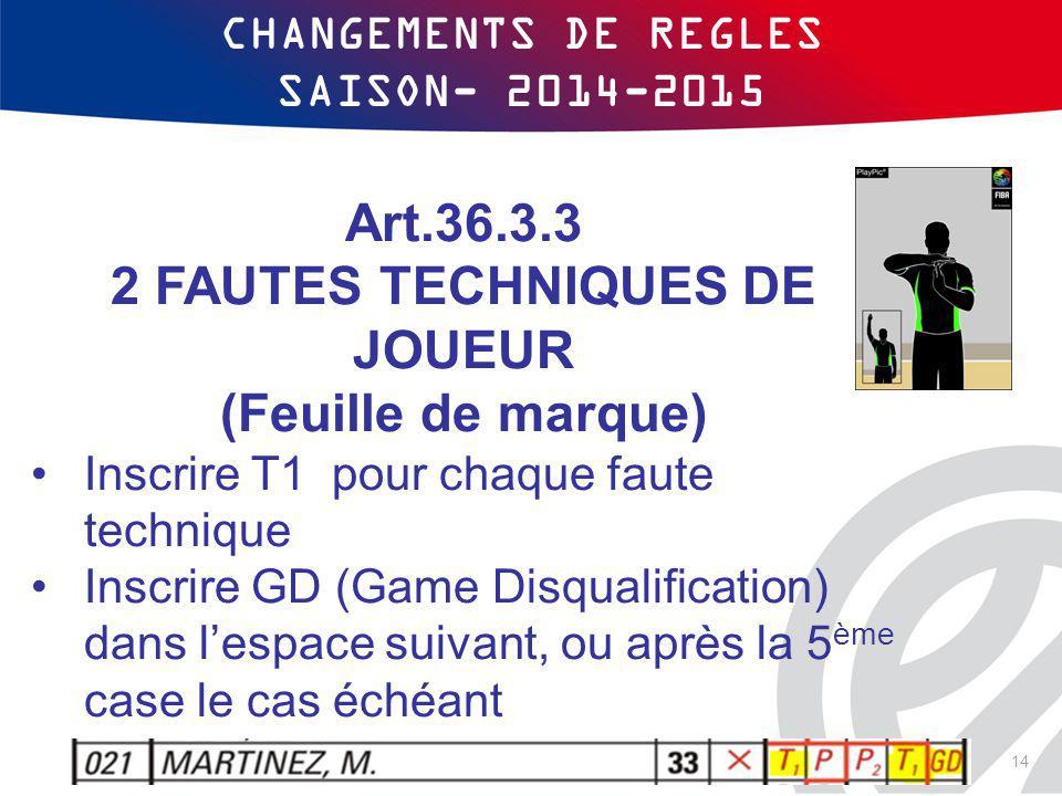 CHANGEMENTS DE REGLES SAISON- 2014-2015 Art.36.3.3 2 FAUTES TECHNIQUES DE JOUEUR (Feuille de marque) Inscrire T1 pour chaque faute technique Inscrire