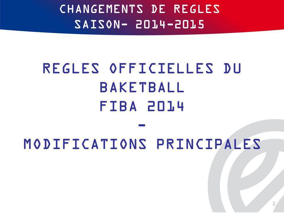 CHANGEMENTS DE REGLES SAISON- 2014-2015 2 REGLES OFFICIELLES DU BAKETBALL FIBA 2014 - MODIFICATIONS PRINCIPALES