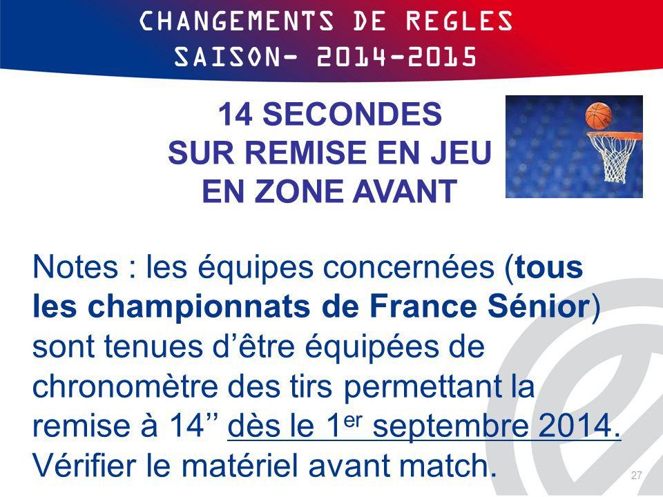 CHANGEMENTS DE REGLES SAISON- 2014-2015 14 SECONDES SUR REMISE EN JEU EN ZONE AVANT Notes : les équipes concernées (tous les championnats de France Sé