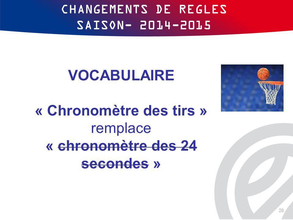 CHANGEMENTS DE REGLES SAISON- 2014-2015 VOCABULAIRE « Chronomètre des tirs » remplace « chronomètre des 24 secondes » 28