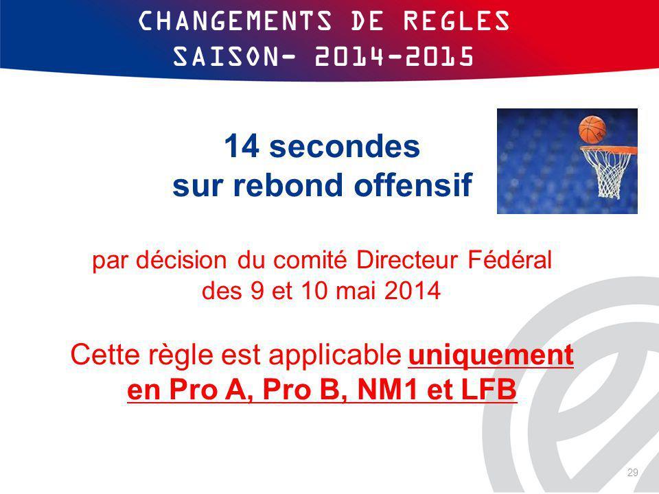 CHANGEMENTS DE REGLES SAISON- 2014-2015 14 secondes sur rebond offensif par décision du comité Directeur Fédéral des 9 et 10 mai 2014 Cette règle est