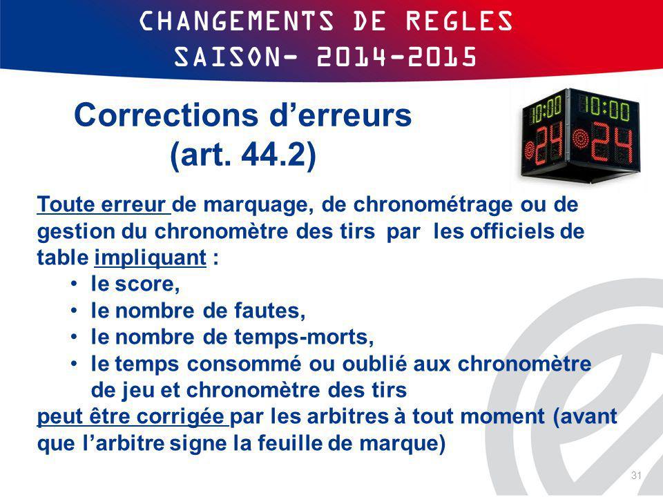 CHANGEMENTS DE REGLES SAISON- 2014-2015 Toute erreur de marquage, de chronométrage ou de gestion du chronomètre des tirs par les officiels de table im