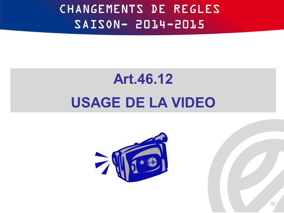 CHANGEMENTS DE REGLES SAISON- 2014-2015 Art.46.12 USAGE DE LA VIDEO 32