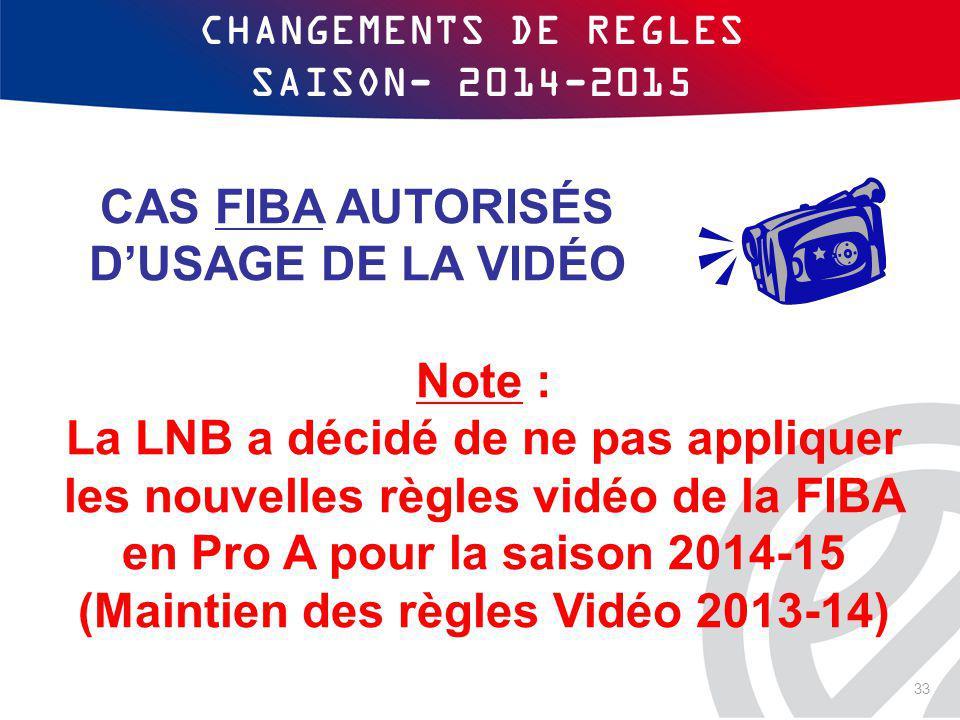 CHANGEMENTS DE REGLES SAISON- 2014-2015 Note : La LNB a décidé de ne pas appliquer les nouvelles règles vidéo de la FIBA en Pro A pour la saison 2014-