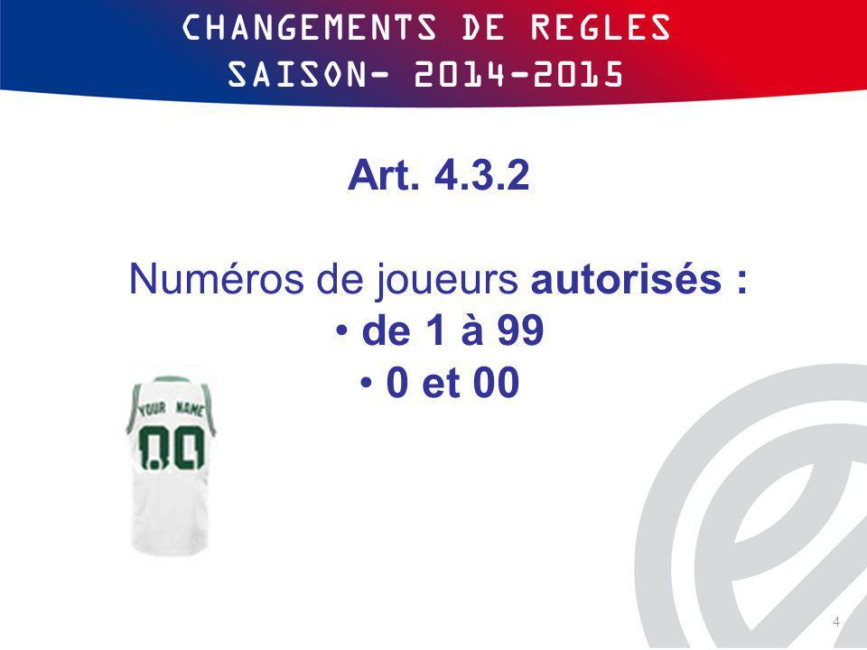 CHANGEMENTS DE REGLES SAISON- 2014-2015 Art. 4.3.2 Numéros de joueurs autorisés : de 1 à 99 0 et 00 4