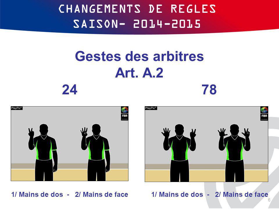 CHANGEMENTS DE REGLES SAISON- 2014-2015 Gestes des arbitres Art. A.2 24 78 1/ Mains de dos - 2/ Mains de face 6