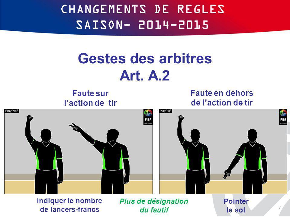 CHANGEMENTS DE REGLES SAISON- 2014-2015 Gestes des arbitres Art. A.2 Indiquer le nombre de lancers-francs Faute en dehors de l'action de tir Faute sur