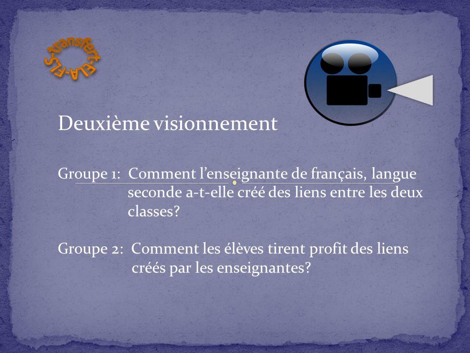 Deuxième visionnement Groupe 1: Comment l'enseignante de français, langue seconde a-t-elle créé des liens entre les deux classes? Groupe 2: Comment le