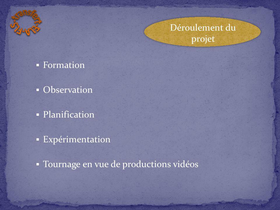  Formation  Observation  Planification  Expérimentation  Tournage en vue de productions vidéos Déroulement du projet