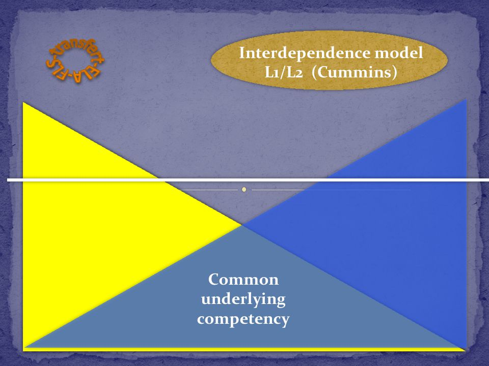 Common underlying competency Interdependence model L1/L2 (Cummins)