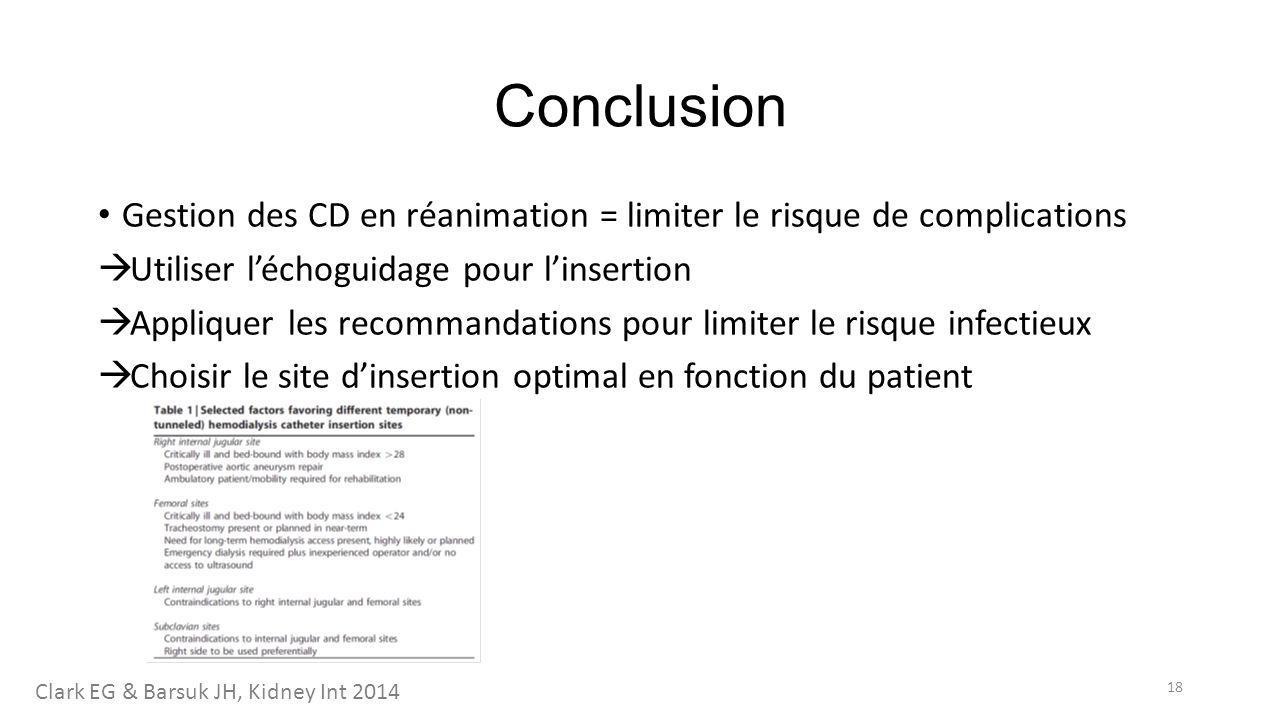 Conclusion Gestion des CD en réanimation = limiter le risque de complications  Utiliser l'échoguidage pour l'insertion  Appliquer les recommandation