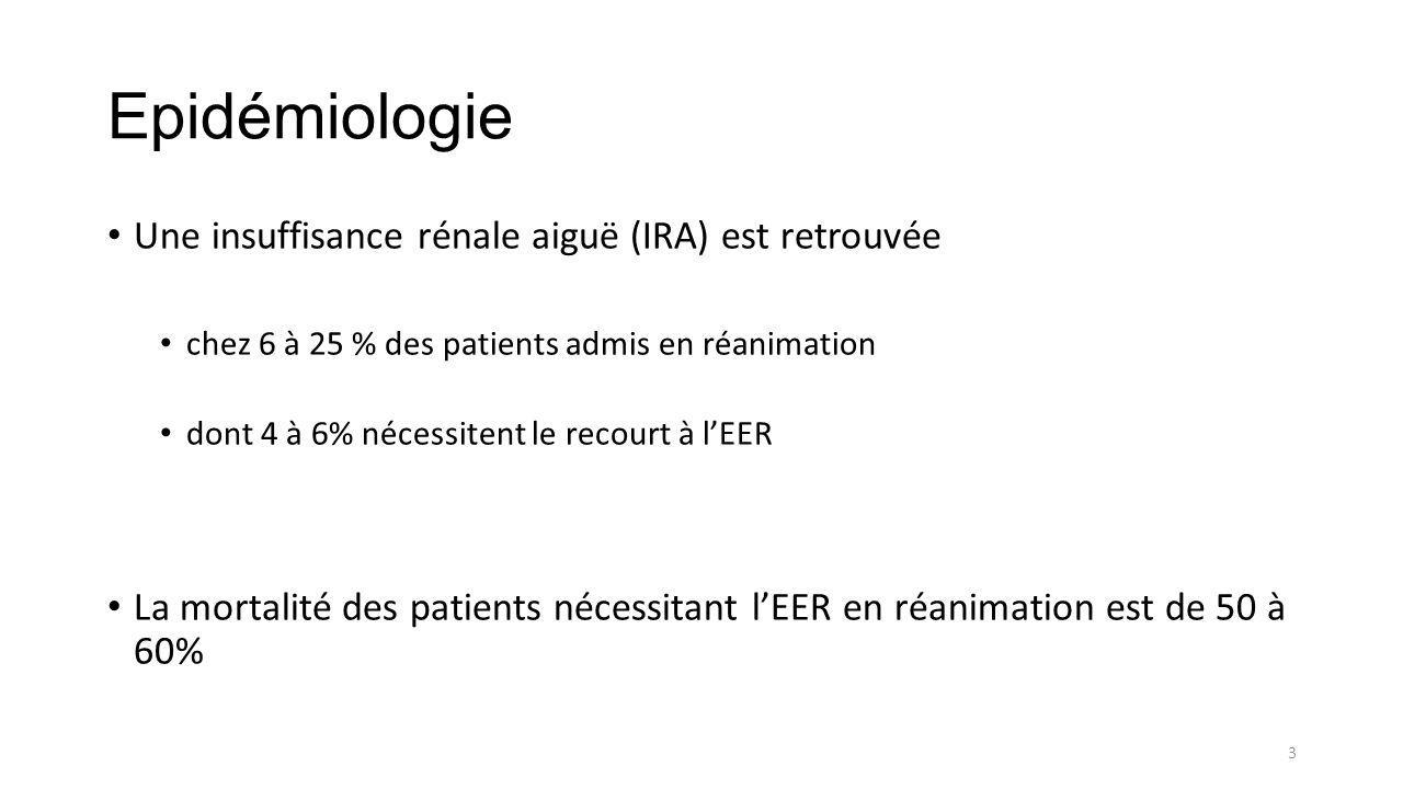 Epidémiologie Une insuffisance rénale aiguë (IRA) est retrouvée chez 6 à 25 % des patients admis en réanimation dont 4 à 6% nécessitent le recourt à l