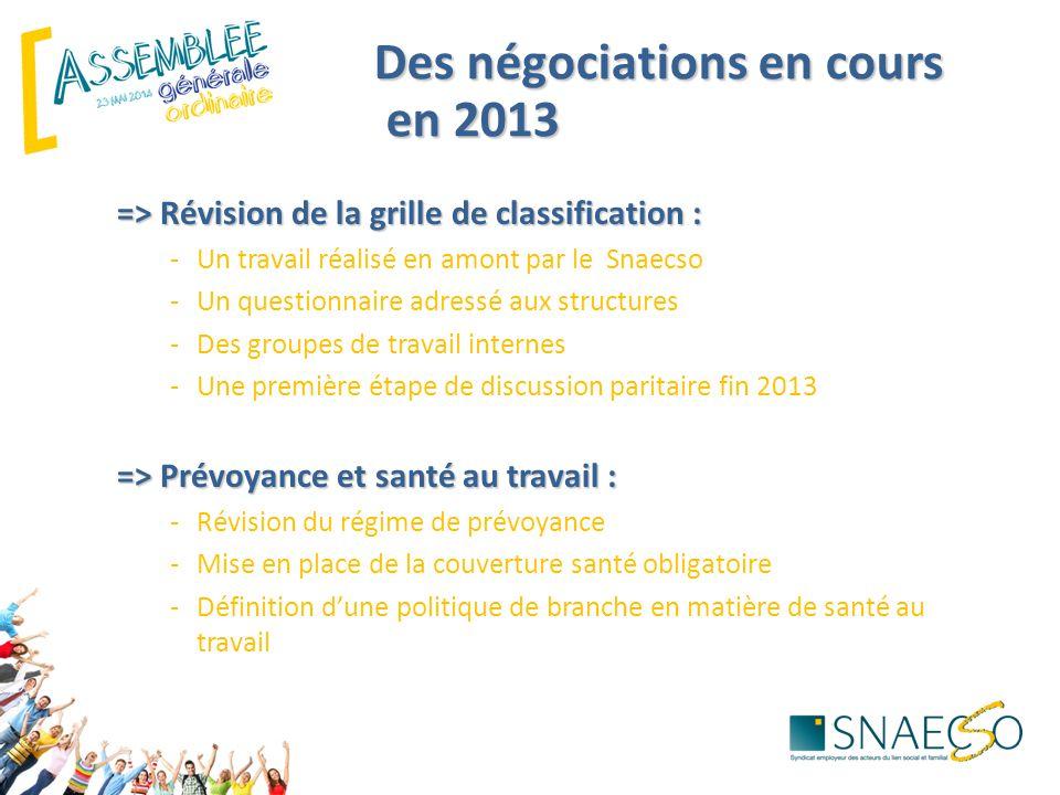 Des négociations en cours en 2013 en 2013 => Révision de la grille de classification : -Un travail réalisé en amont par le Snaecso -Un questionnaire a