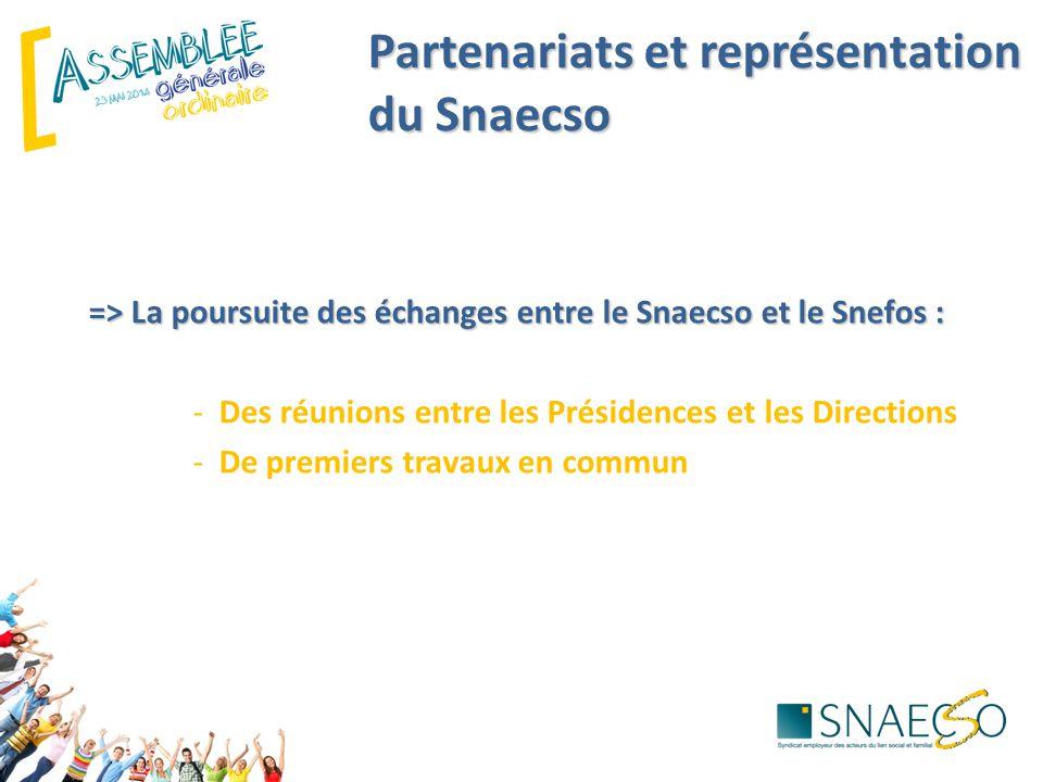 Partenariats et représentation du Snaecso => La poursuite des échanges entre le Snaecso et le Snefos : -Des réunions entre les Présidences et les Directions -De premiers travaux en commun